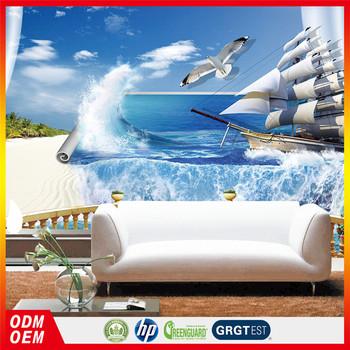 3d Carta Da Parati Murales 3d Blu Mare Con Barca 3d Wallpaper Camera ...