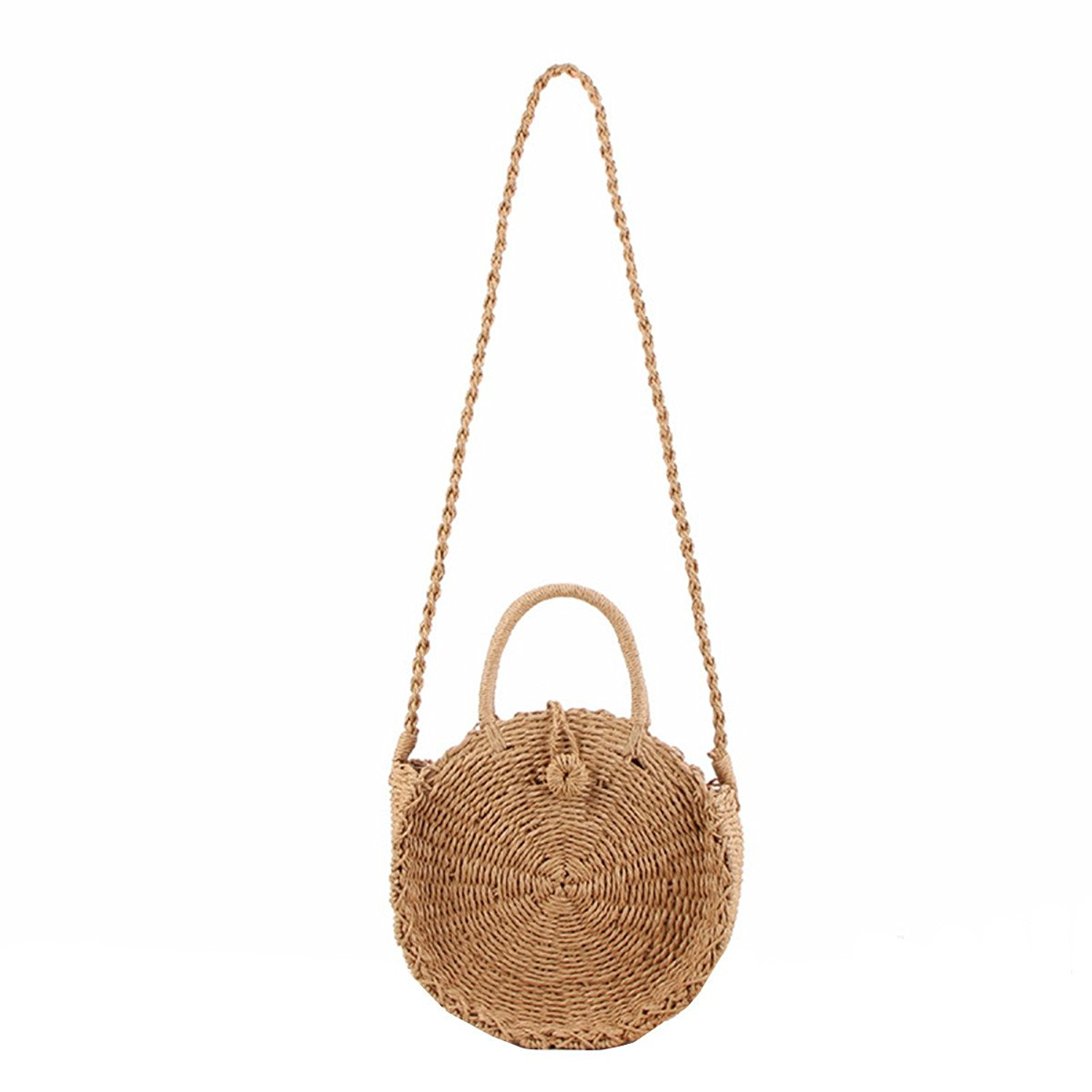 766b7e77e5df Get Quotations · Andear Womens Straw Woven Handbags Round Rattan Tote Bags  Shoulder Bags Beach Crossbody Bags