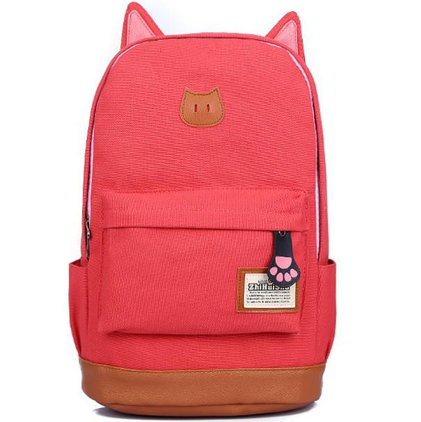 Get Quotations · 2015 Wholesale New Women Backpack Fashion Cat Ear Canvas  Girls Backpacks Cute Children Backpacks Printing School 26c1bf35f