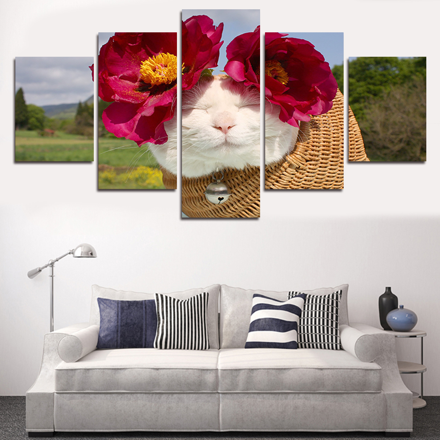 5Pcs (No Frame)Tabby Cat Wall Painting Flower Art Picture Modern Home Decoration Living Room Or Wedding Canvas Print Painting