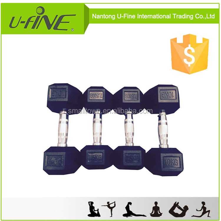 Weight Lifting Crossfit Rubber Coated Hex Dumbbells
