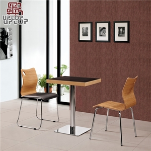 (SP-CT507) Wholesale wooden metal fast food restaurant cafe chair table set