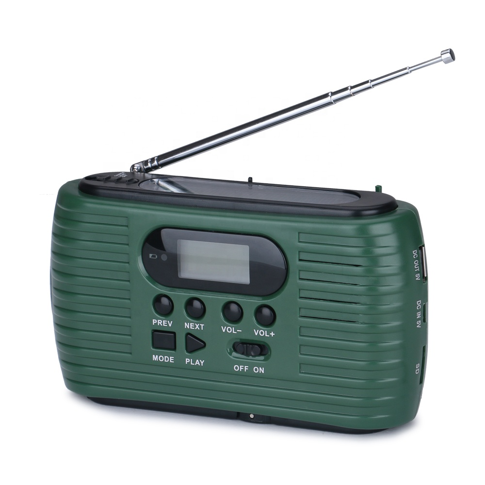 Emergency Windup Solar Hand Crank AM FM Radio Support Earphone LED Display Automatic Search Store TF Card MP3, Customized