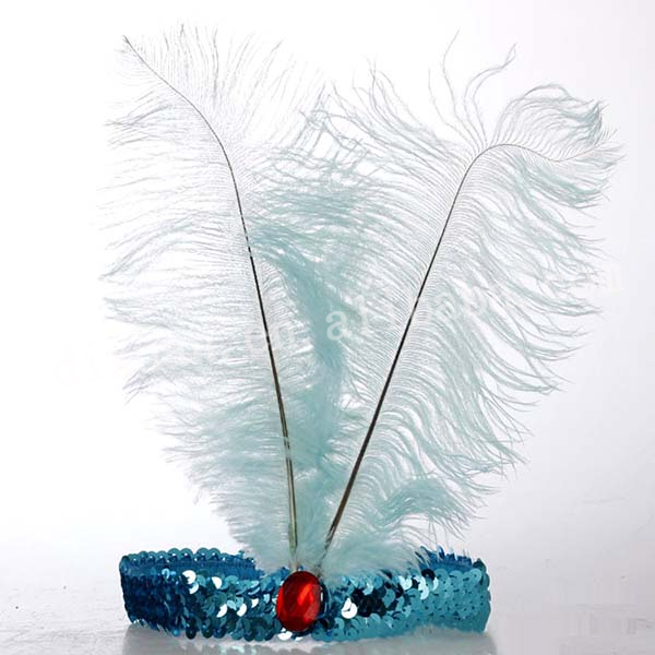 BLUE OSTRICH FEATHER CARNIVAL HEADEWEAR Colorful Headwear 2015 DX-JQ-0461