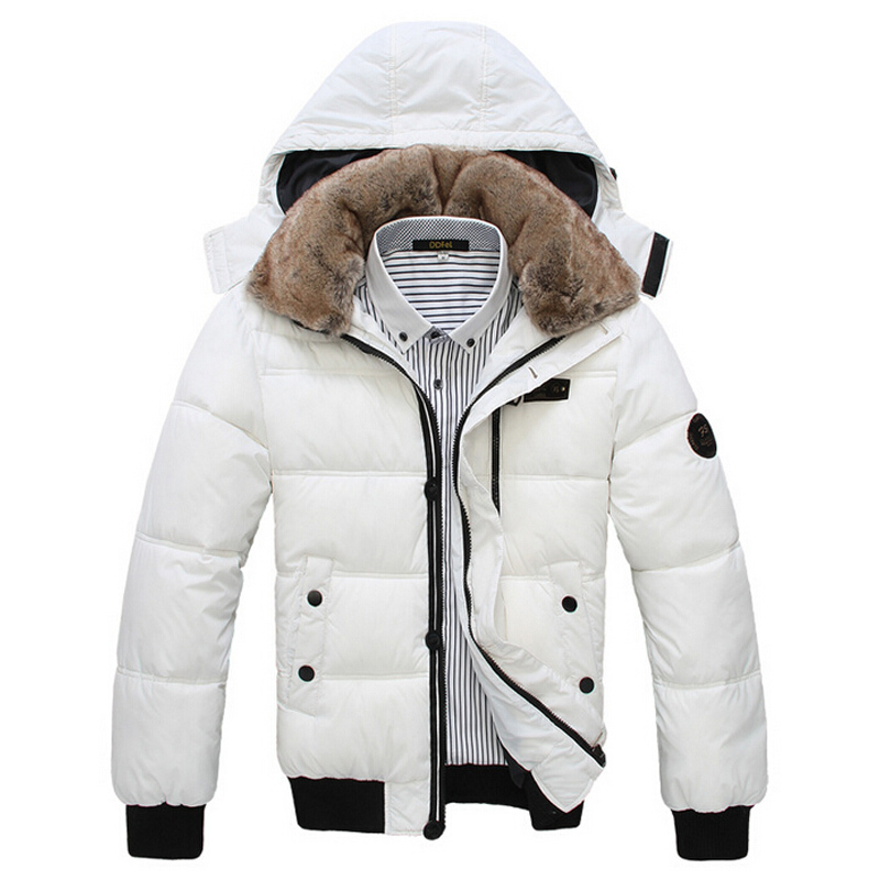 New Men's Winter Jackets Casual Fur Collar Padded Cotton Overcoat Fashion Wadded Hooded Outwear Thick Warm Coat Parka Men EHY687
