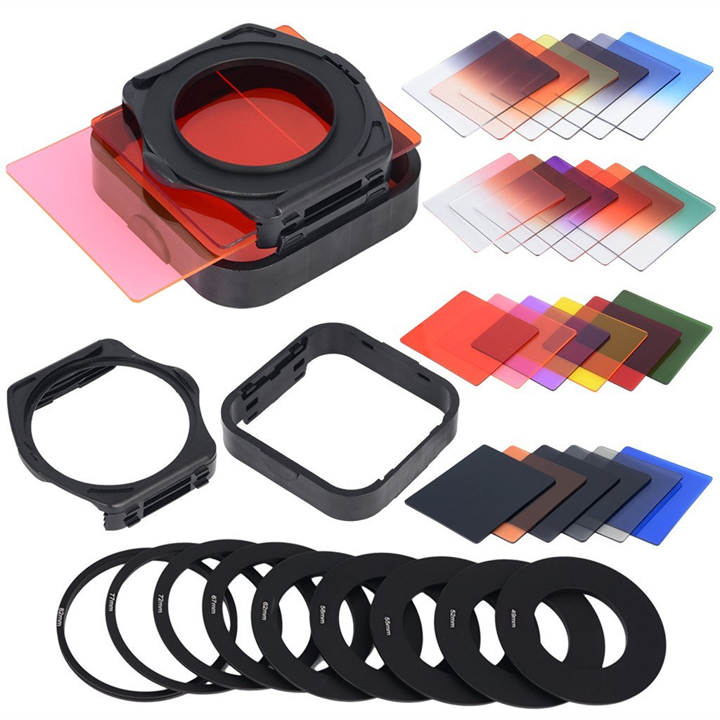 Aobi® 12 PCS Square Full Color Nd2/nd4/nd8/nd16 + 12 PCS Graduated G.nd2/g.nd4/g.nd8 Filter 24in1 Set + 9 PCS Adapter Ring(49mm,52mm,55mm,58mm,62mm,67mm,72mm,77mm,82mm) + 2 PCS Filter Holder + 2 PCS Lens Hood for Cokin P Series Lf78