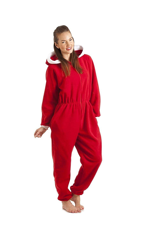ce115ea914 Camille Womens Ladies Luxury All In One Red Santa Hooded Fleece Onesie  Pajama