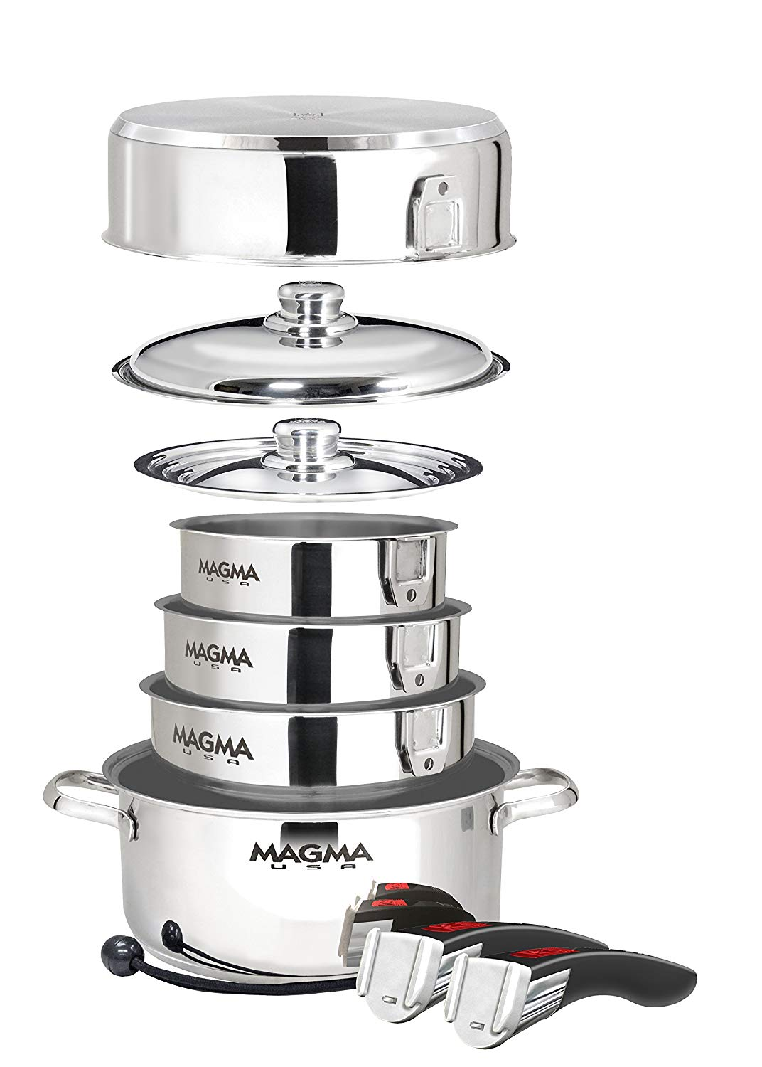 Magma Products, A10-366-IND A10-366-IND, 10 Piece Gourmet Nesting Stainless Steel Cookware, Non-Stick Ceramica for Induction Cooktops