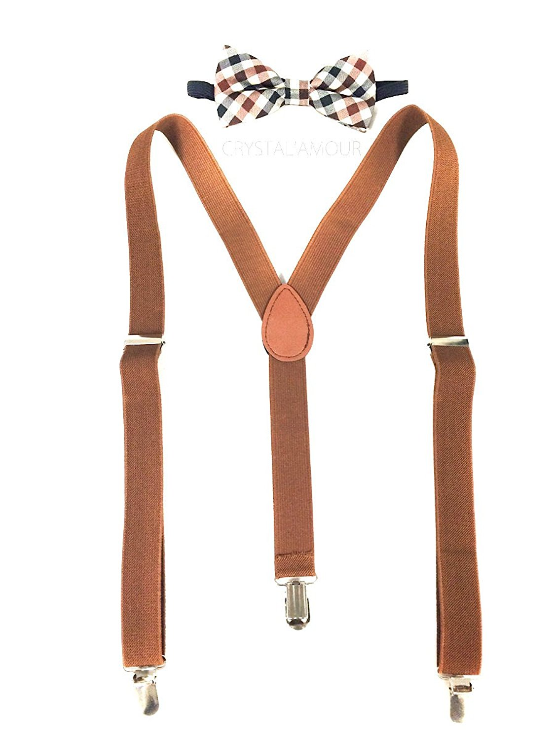 Brand New! Brown Suspenders and Brown Plaid Bowtie Set, Awesome Barnyard Wedding, Groomsmen Design