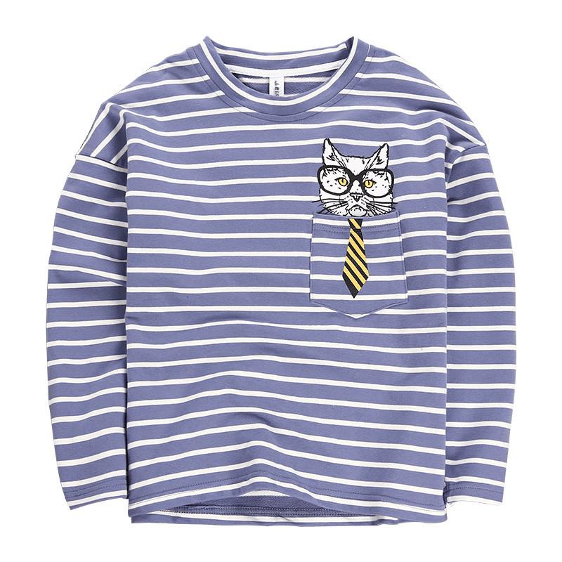 f39845321aad9 Vêtements Pour Enfants en gros Coton T-shirt Manches Longues Rayé Carton T- shirt