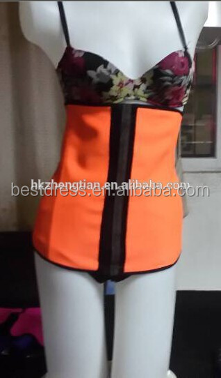 Latex Rubber Waist Corset Training Clincher Underbust Bustier <strong>Orange</strong>