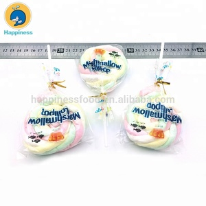 Boxed packing marshmallow lollipops Color twist marshmallow candy lollipop  halal marshmallow