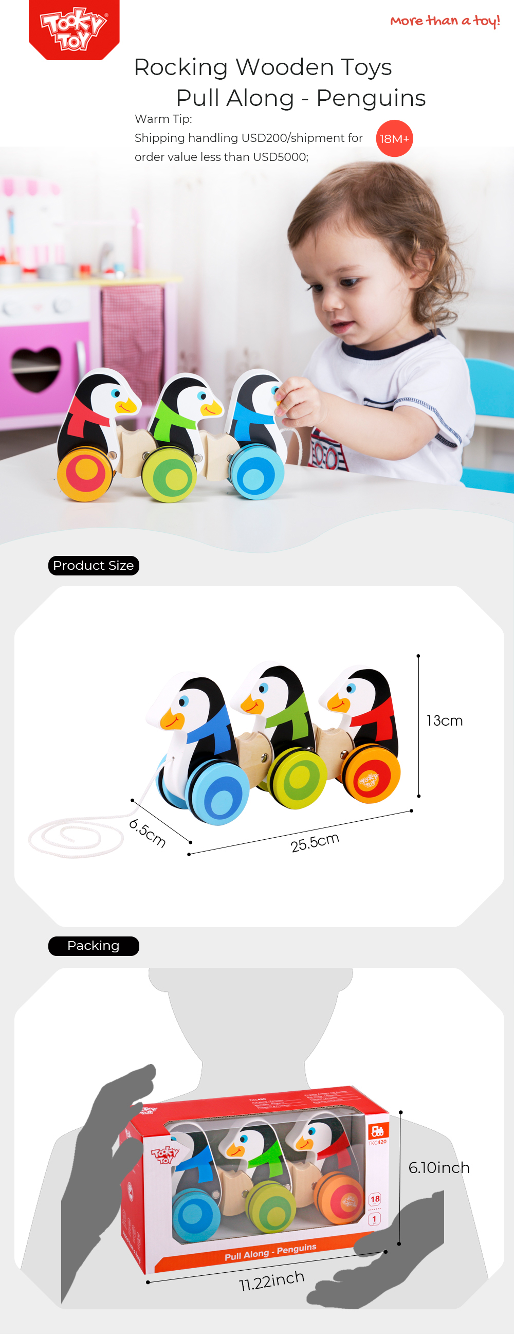 Rocking Wooden Toys Pull Along - Penguins