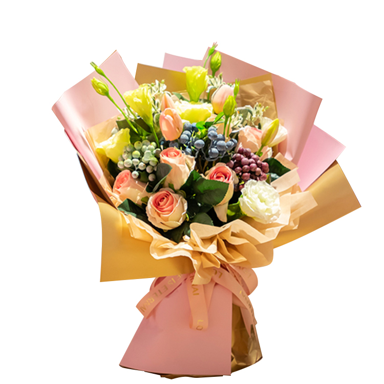 Последние Горячие 20 шт./пакет водонепроницаемый букет оберточная бумага 2 тон цвета Роскошный Золотой цветок оберточной бумаги