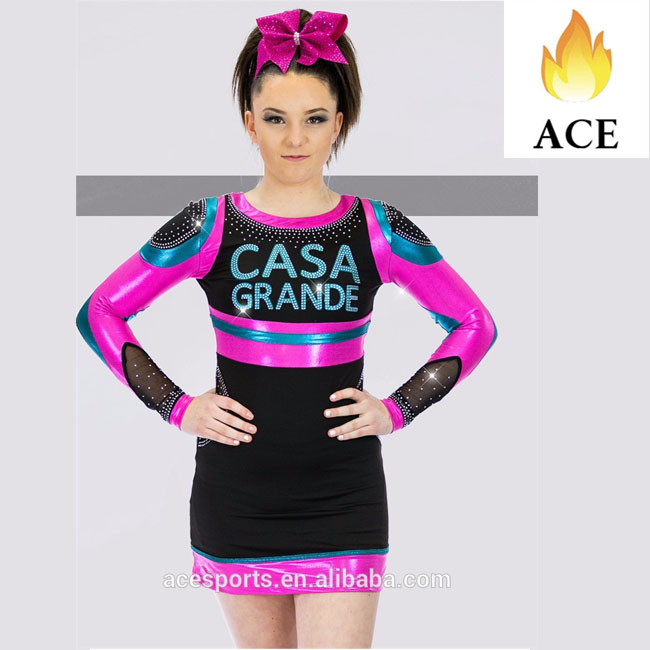 Newest super quality Custom performance Metallic cheerleading uniforms All Star Competition Cheer Uniforms