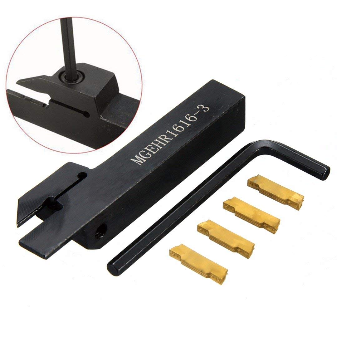 ERTIANANG 1pc MGEHR1616-3 Tool Holder Boring Bar + 4pcs MGMN300 Carbide Inserts with Wrench For CNC Lathe Tool