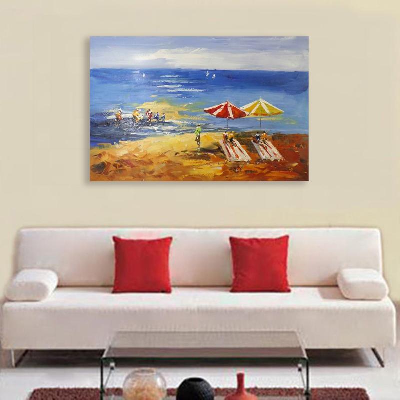 Méditerranéen Chaises De Plage Paysage Mur De Toile Peinture À L