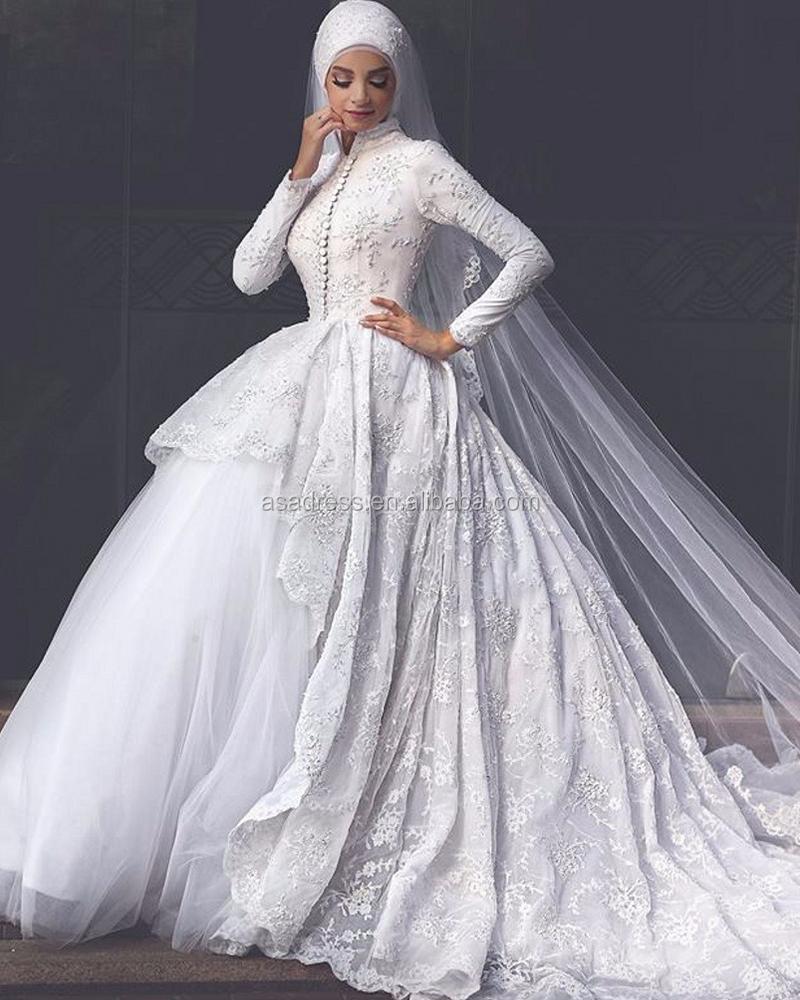 Sehr Date Blanc Arabe Manches Longues Gelinlik Perles De Mariée Hijab  CY58