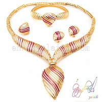 Fashion red 18k gold plated jewelry set indian design fashion jewelry online wholesale
