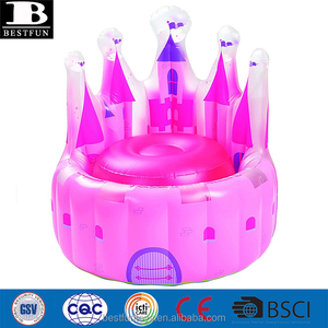 Promotional inflatable throne Princess chair foldable kids baby travel air sofa chair