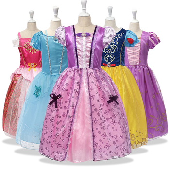 Girls Summer Dresses Kids cinderella Snow White Cosplay Costume Princess Rapunzel Aurora Belle Sleeping Beauty Sofia Party Dress