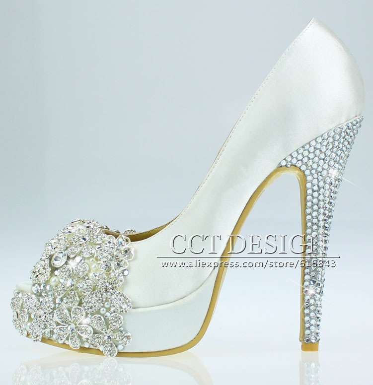 306cb136c9d Photo Gallery of - White Wedding Heels With Rhinestones