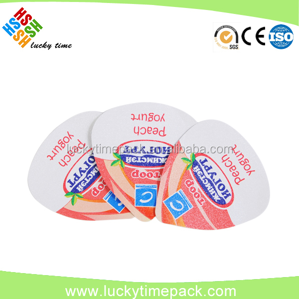 80mm embossed laminated with PS lacquer aluminum foil lid heat seal with PS yogurt cup