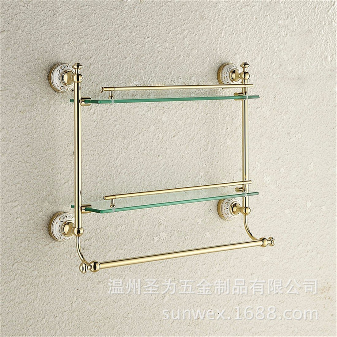 LAONA European style gold zinc alloy ceramic base, bathroom fittings, toilet paper rack, towel rack,Rack 2