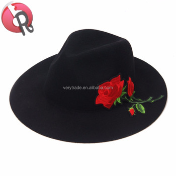 2018 hot new style fashion trendy kids Wool Felt Fedora Hat embroidery  floral hats a1f2585989ad