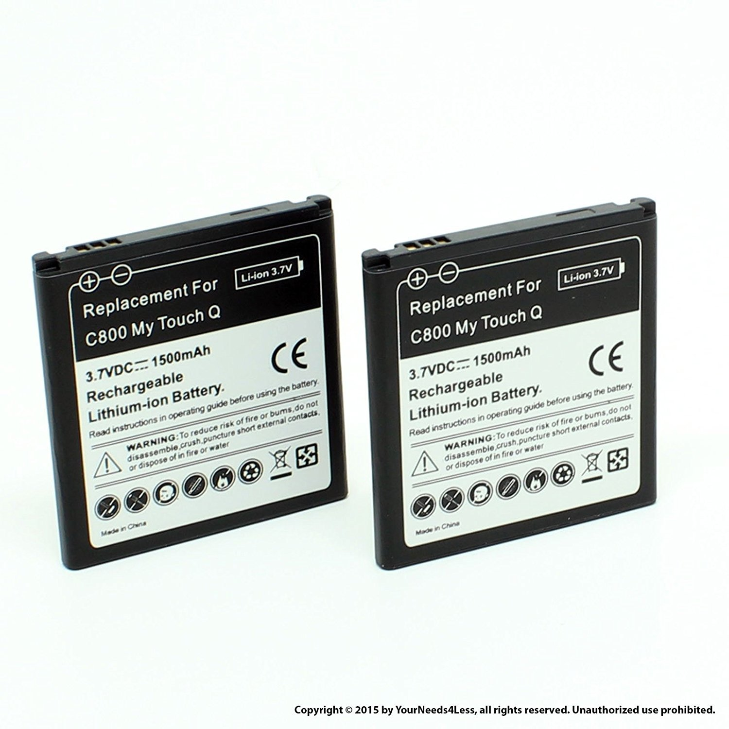 YN4L 2 X 1500mAh Replacement Batteries for LG My touch Q(C800) ; Optimus Elite LS696 (Sprint & Virgin Mobile)
