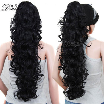 Curly Fake Hair Piece Extension Jaw Claw Clip In On Ponytail Hairpieces