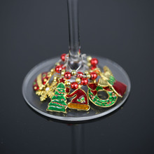 Christmas Inspired Zinc Alloy Wine Glass Charms Set, Drink Markers