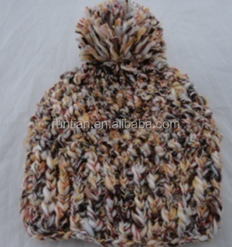 Handmade Chunky Popcorn Stitching Crochet Multicolor Womens Hat