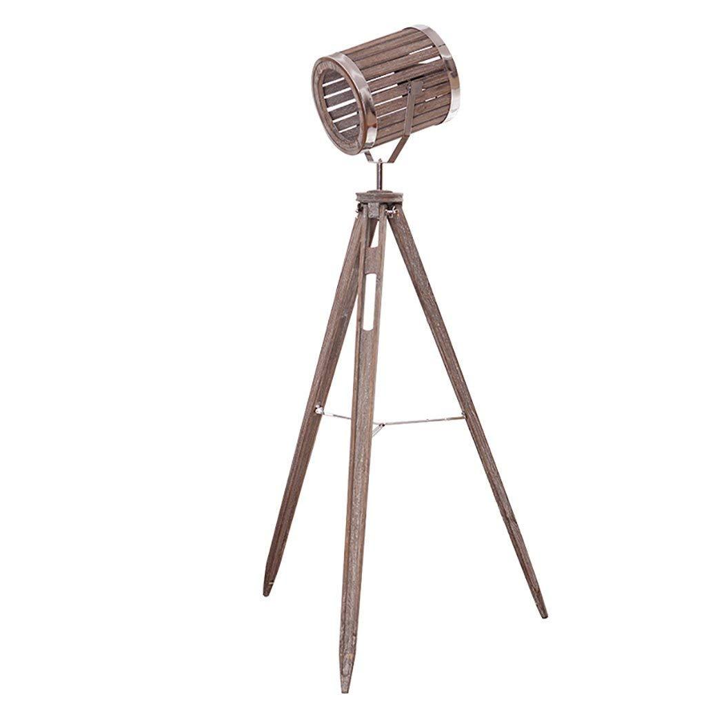QYJZI Floor Lamps Floor lamp, wooden tripod, living room floor lamp, wood country, vintage study floor lamp size: 62160cm