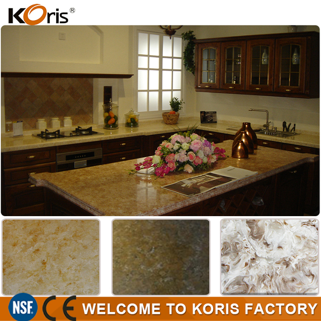 Charming Custom Artificial Polished Brown Granite Silk Stone Countertops