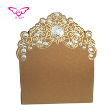 Embossing Gold Wedding Candy Box Wedding Invitation Box