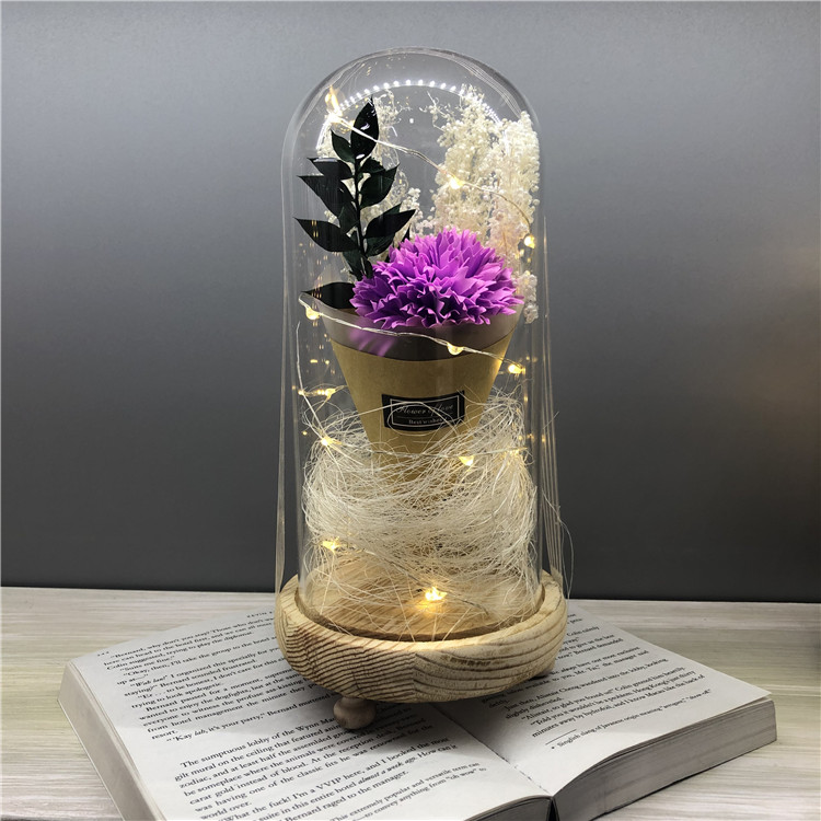 Romantic Artificial Carnation Silk Flower in Glass Dome with Led Light 4 color silk flower gift for Mother's  Day