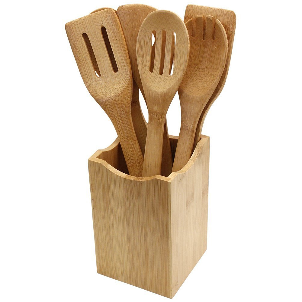 6 pi ces cuisine ensemble servant des outils ustensile de cuisine en bois naturel bambou cuisine. Black Bedroom Furniture Sets. Home Design Ideas