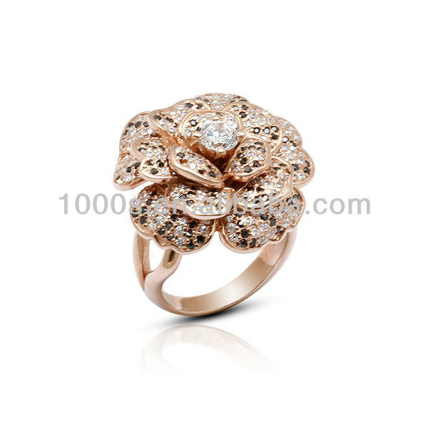 925 Sterling Silver with Gold Plating Fashion Flower Ring Jewelry