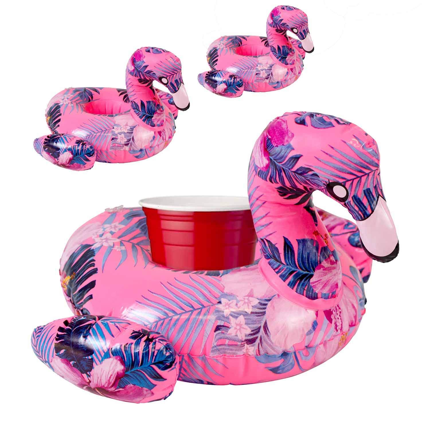 61718185c82b Get Quotations · Premium Inflatable Drink Holder (Flamingo) - 3 Pack of Pool  Drink Holder Floats