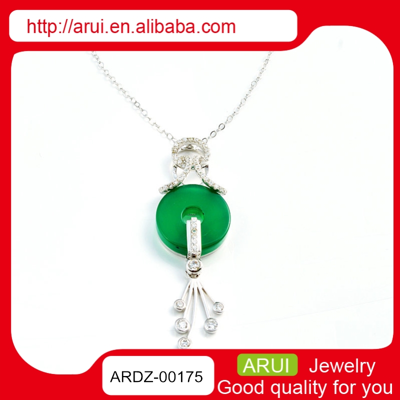 Alibaba China Suppliers 925 Silver Green Stone Jade Necklace