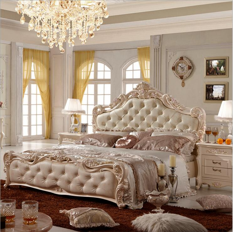 modern european solid wood bed Fashion Carved leather ...