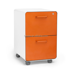 Office Desk Lateral Moving Pedestal Filing Cabinet Mobile Storage Hanging Round Drawer Cabinet with 4 wheels