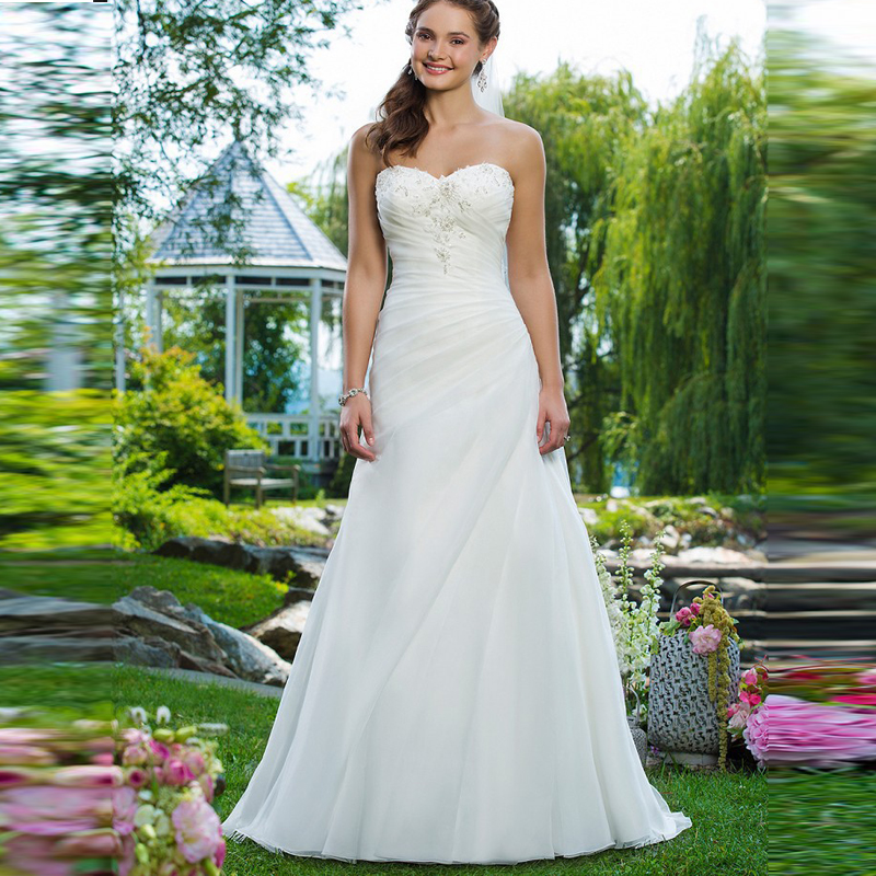 Beautiful Dresses To Wear To A Wedding: Beautiful Cheap Garden Wedding Dresses A Line Organza Hot