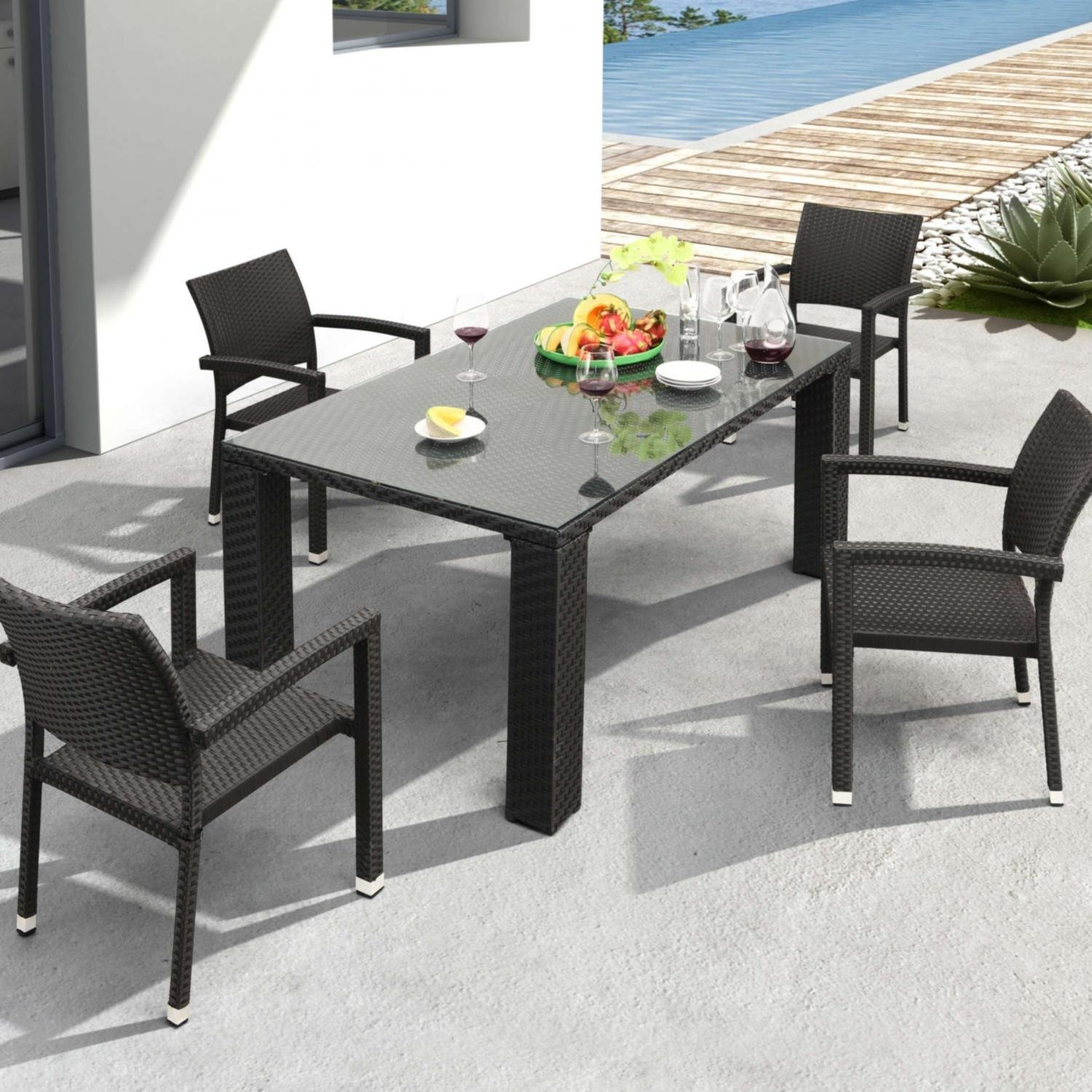 Zuo Modern Boracay Patio Dining Set With Glass Top Table - Seats 4