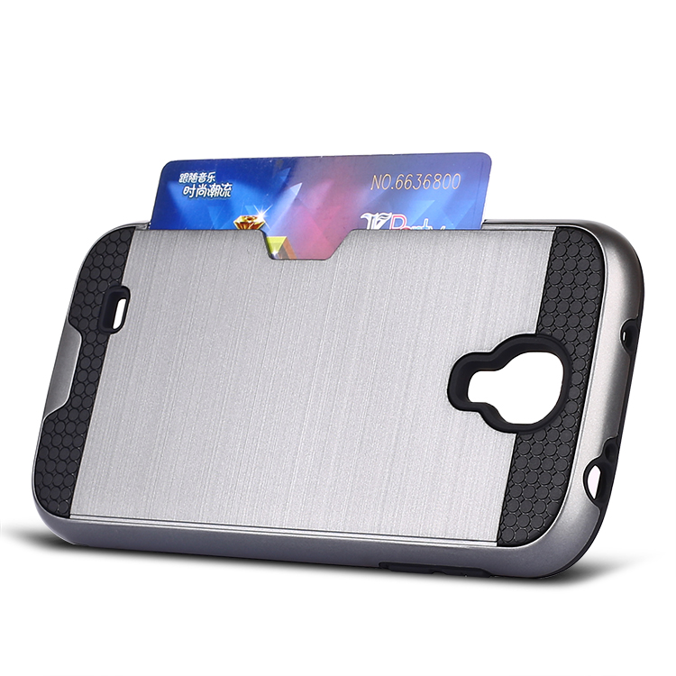 2 in 1 design brush combo case with wallet card phone case for samsung galaxy S4 i9500
