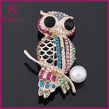 Fashion jewelry golden bulk owl brooches for women decoration