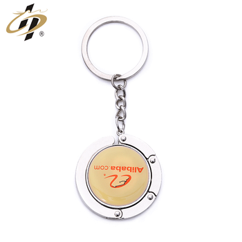 Custom zinc alloy print own design metal bag hanger keychain