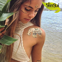 New Design Flash Tattoo Removable Waterproof Gold Tattoo Temporary Tattoo Stickers Temporary Body Art Tatoo