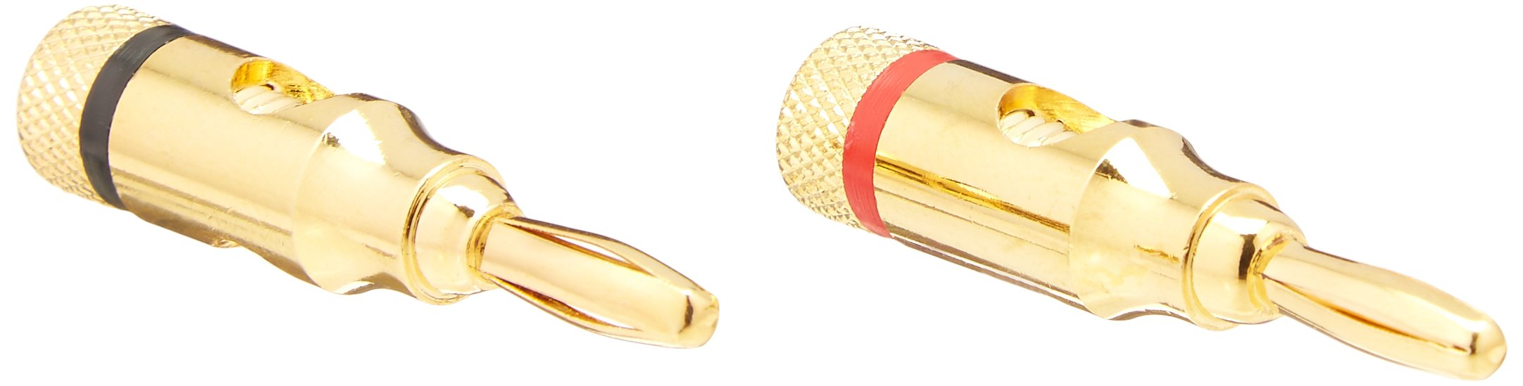 Monoprice Gold Plated Speaker Banana Plugs – 5 Pairs – Open Screw Type, For Speaker Wire, Home Theater, Wall Plates And More